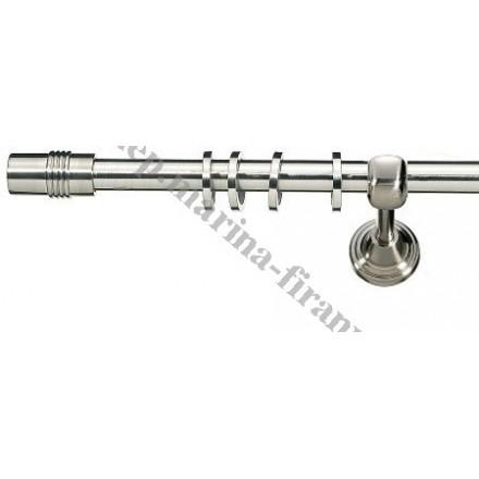 Karnisz Gral fi 16 pojedynczy, efekt stali - Cylinder (G160016)