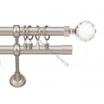 Karnisz Gral fi 19 mm, podwójny, kolor efekt stali - Kula Crystal (G190030)