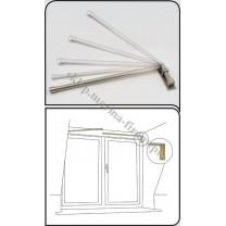 Karnisz uchylno - otwierany w kolorze inox, fi 20 mm, dł. 110 cm - stal nierdzewna