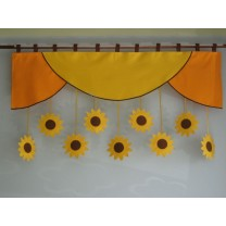 Firana dla dzieci z zawieszkami Słoneczniki - szal pomarańczowo - żółty