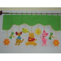 Firana dla dzieci z zawieszkami Kubuś - szal zielony