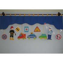 Firana dla dzieci z zawieszkami Służby drogowe - szal granatowy