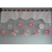 Firana dla dzieci z zawieszkami Motyle różowe - szal różowy