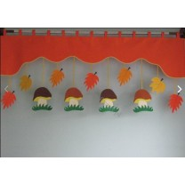 Firana dla dzieci z zawieszkami Grzyby i liście - szal czerwony grejpfrut