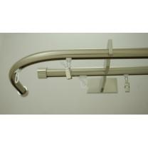 Karnisz Gral fi 19 mm, podwójny szynowy - zawijany, gięty - efekt stali (G190045)