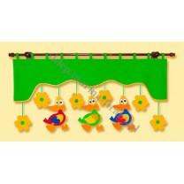 Firana dla dzieci z zawieszkami Kaczory - szal zielony