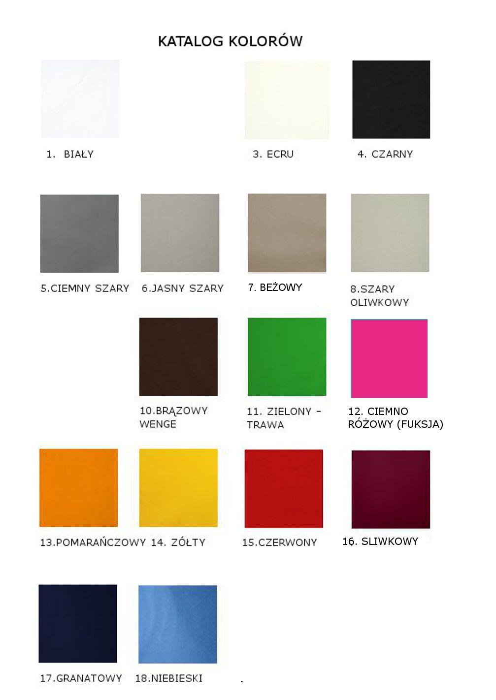 wzornik kolorów tkanin