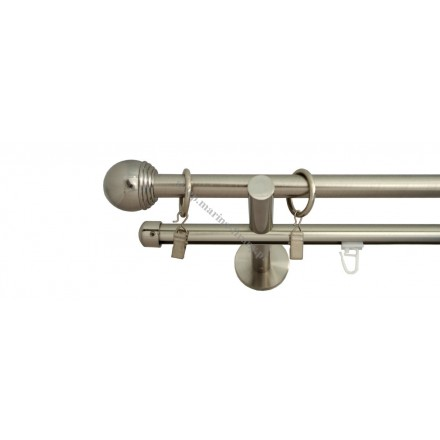 Karnisz Gral fi 16 podwójny, rura-profil, efekt stali - Todi Maxa (G160020)