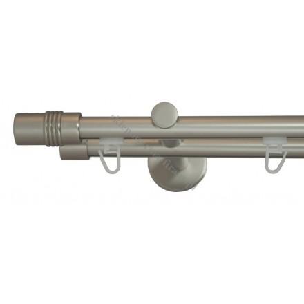 Karnisz Gral fi 19 mm, podwójny szynowy - Cylinder chrom mat (G190015)