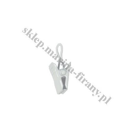 Żabka - klamerka do kółka metalowego Gral - kolor biały połysk (10 szt)