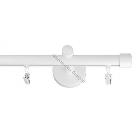 Karnisz pojedynczy szynowy fi 20 mm biały połysk - stal nierdzewna / aluminium (TH002)