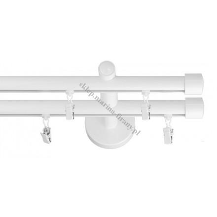 Karnisz podwójny szynowy fi 20 mm biały połysk - stal nierdzewna / aluminium (TH003)