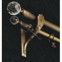 Karnisz podwójny mosiężny Secesja Classic fi 30/20 mm - (TH0025) Crystallized Swarovski Elements 50