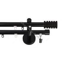 Karnisz podwójny szynowyTechno 20 mm czarny matowy Radiator - stal nierdzewna / aluminium (TH004)