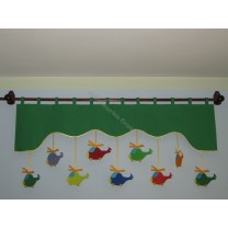 Firana dla dzieci z zawieszkami Helikopery - szal zielony