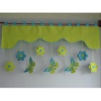 Firana dla dzieci z zawieszkami Motyle zielono turkusowe - szal jasno zielony