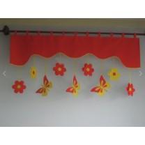 Firana dla dzieci z zawieszkami Motyle czerwowo żółte - szal czerwony grejpfrut