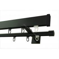 Karnisz szynowy Modern 40 / Techno 20, podwójny - czarny matowy (TH0035)