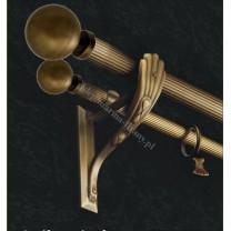 Karnisz podwójny mosiężny Secesja Classic fi 30/20 mm - (TH035) Kula