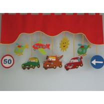 Firana dla dzieci z zawieszkami Autostrada - szal czerwony