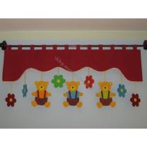 Firana dla dzieci z zawieszkami Misie - szal bordowy