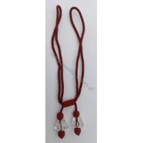 Sznur/ chwost dekoracyjny z podwójnymi kryształami - bordowy