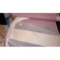 Tkanina z organtyną w pasy- odcienie ecru i fioletu, szer. 300 cm - cena za 1 mb