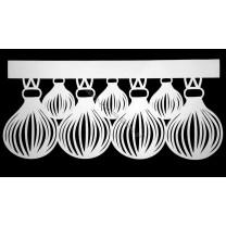 Ażur do firan wzór świąteczny Bombki szer. 62 cm, biały, czterowarstwowy - odrzut nr 47