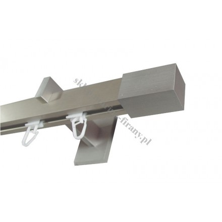 Karnisz pojedynczy Modern 25 srebrny inox z końcówką Prostokąt MDH2505