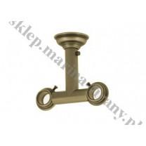 Wspornik podwójny sufitowy przelotowy Classic 30/20 mm - jasne antico (mosiądz)