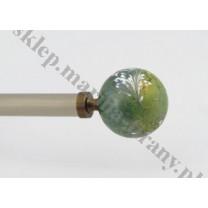 Końcówka do profilu/ rury 20 mm - Kula średnia szkło zielone - antico (mosiądz) - 1 szt
