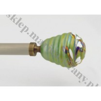 Końcówka do profilu / rury 20 mm - Ul średni szkło zielone - antico (mosiądz) - 1 szt