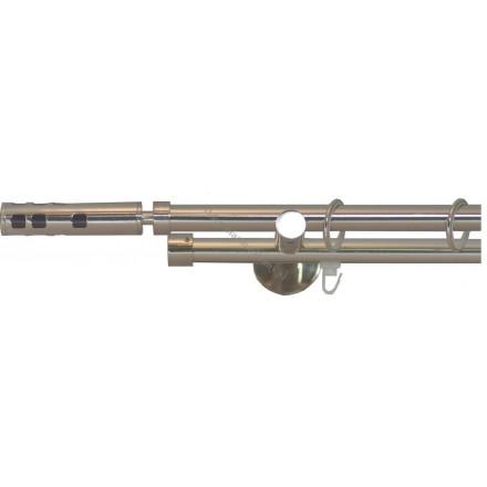 Karnisz Gral fi 19 podwójny rura/profil efekt stali - Vega (G190005)