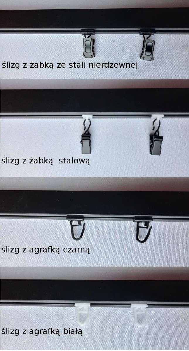 rodzaje ślizgów dla karniszy Modern 25 w kolorze czarnym