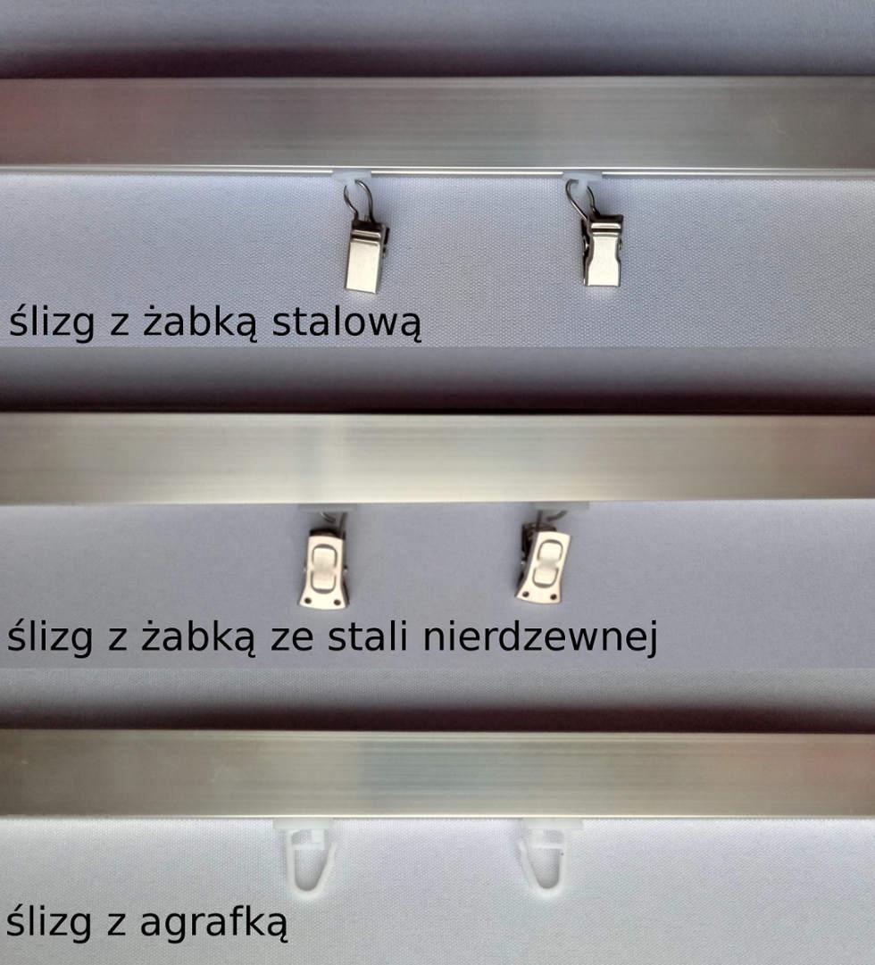 rodzaje ślizgów dla karniszy Modern 25 w kolorze inox