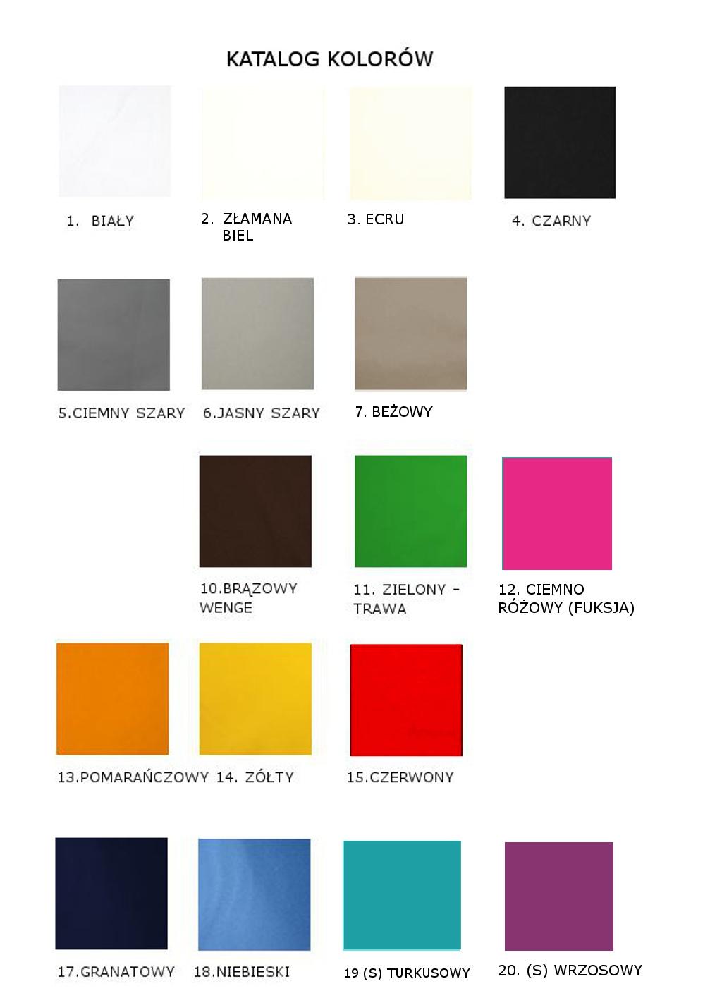 wzornik kolorów - ażury do firan